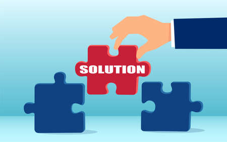 Vector of a businessman with a solution bridging the puzzle gap