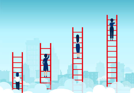 Vector of competing business women climbing up ladder of success Illustration