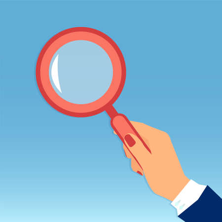Vector of a female hand holding a magnifying glass isolated on blue background
