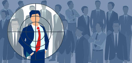 Recruitment of at the best candidate concept. Vector of a businessman standing out from the crowd