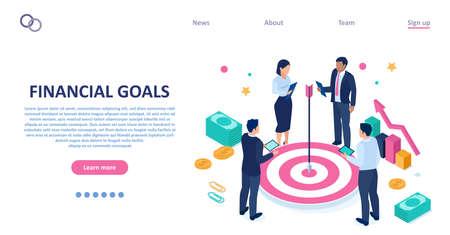 Vector of businesspeople brainstorming financial goals Illustration