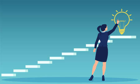 Vector of a businesswoman dreaming big drawing bright light bulb on top of a staircase