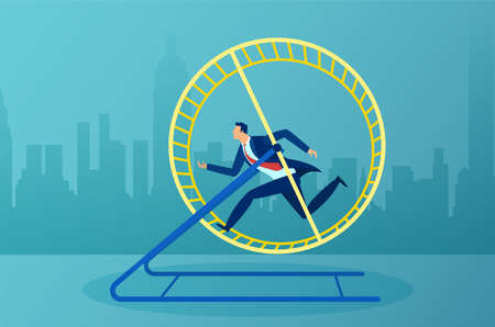 Vector of a busy businessman running in a hamster wheel