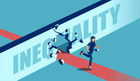 Vector of a strong motivated businesswoman breaking the wall of inequality