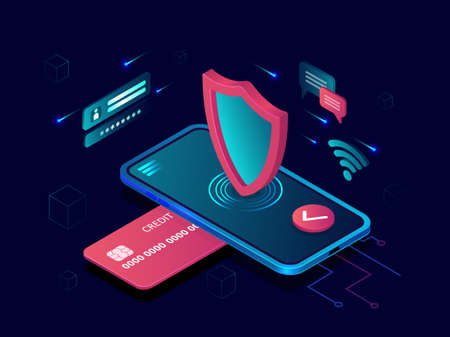 Mobile payment security concept. Vector of a smartphone and credit card, Internet secure bank transaction