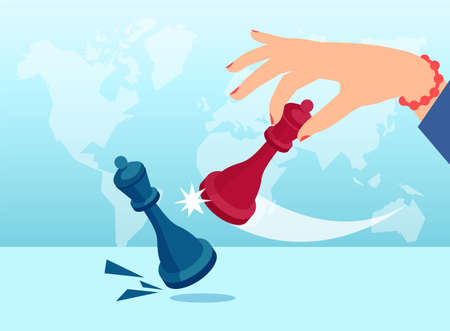 Vector of a female hand using a queen to kick a rival queen in chess game on world map background