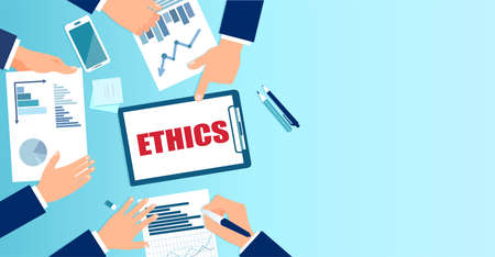 Vector of business people ethics committee reviewing financial reports