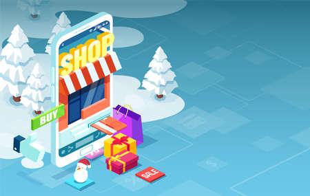 Holiday shopping online via modern mobile phone app concept Illustration
