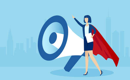 Vector of a business woman in red cape making an announcement standing near a big megaphone