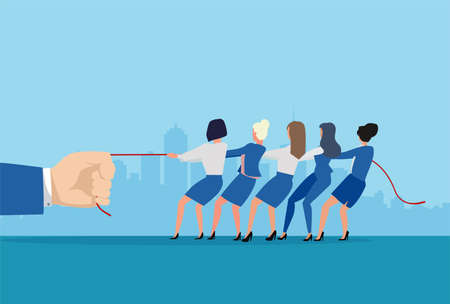 Vector of a group of businesswomen pulling a rope with a big businessman
