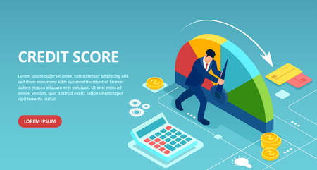 Credit score concept. Vector of a businessman pushing scale arrow changing credit history from poor to good.