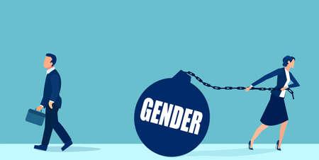 Vector of a businesswoman dragging gender burden vs businessman walking freely Illustration