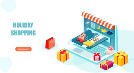 Online shopping concept. Vector of a laptop with clothes and gift boxes and Internet payment with credit card Illustration