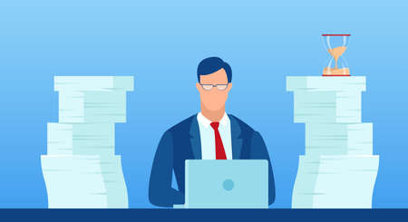 Vector of a busy businessman working at his desk pressured by deadline