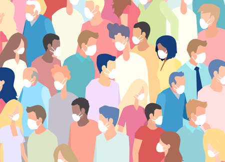 Vector of a large crowd of people wearing face masks standing next to each other