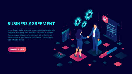 Business contract and agreement concept. Vector of a businessman and businesswoman shaking hands closing a deal