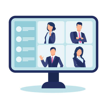 Vector of computer screen with business people chatting having a video conference isolated on white background