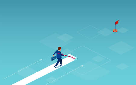Vector of a businessman painting his own path towards success and career goals