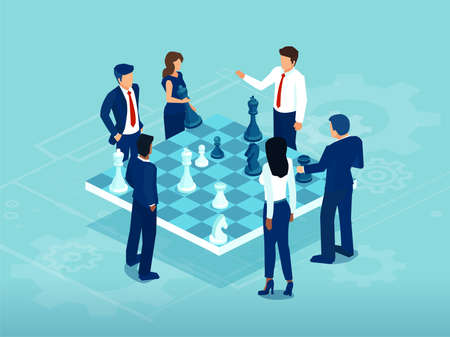 Vector of businessmen and women playing chess game brainstorming a strategy for success