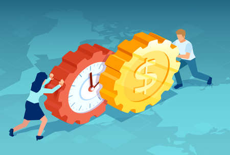Vector of a woman and man pushing dollar coin and clock gears towards each other