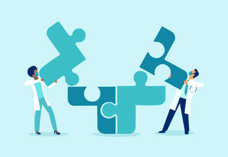 Vector of two doctors putting puzzle pieces together a symbol of team work and collaboration