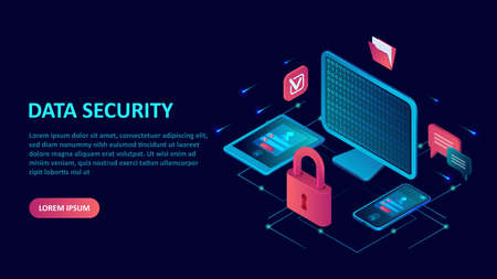 Data internet security and protection concept. Isometric vector of a computer, mobile devices with key lock