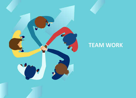 Vector of diverse women putting their hands together as a symbol of team work and collaboration Иллюстрация
