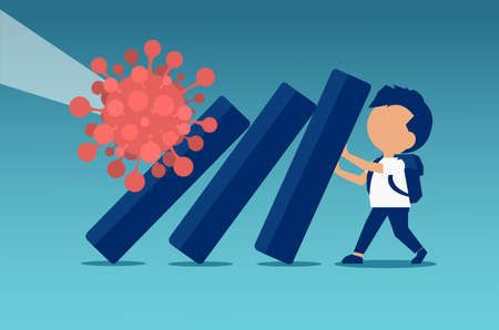 Vector of a school boy trying to stop domino effect provoked by coronavirus pandemic Иллюстрация