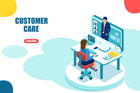 Customer call center support concept. Vector of a help service employee assisting a businessman online