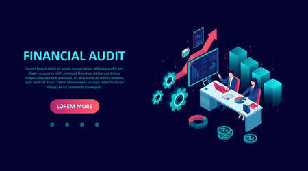 Isometric vector of accountants conducting financial audit, assisting in tax preparation