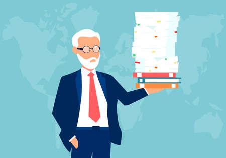 Vector of a senior confident business man holding a pile of paperwork effortlessly with one hand Ilustração
