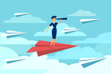 Vector of a businesswoman flying on a paper plane while looking through a telescope isolated on blue sky background