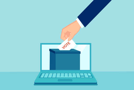 Vector of a hand putting paper with vote in the ballot box in a laptop computer Иллюстрация