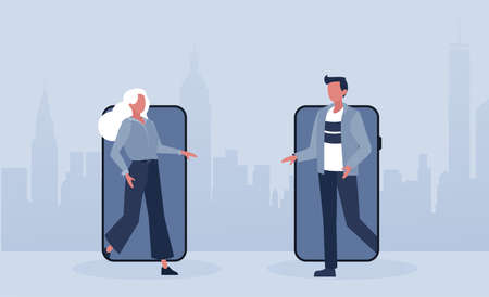 Vector of a young woman and a man walking out of their smart phones to meet in real life