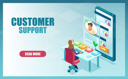Customer call center support concept. Vector of a help service employee a woman assisting a businessman online