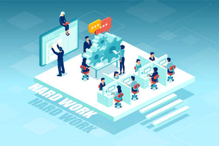 Isometric vector of business people, employee in siting in suits working in the corporate office.