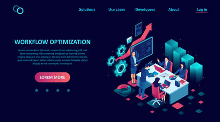 Vector of business people a team working on workflow management optimization in office Иллюстрация