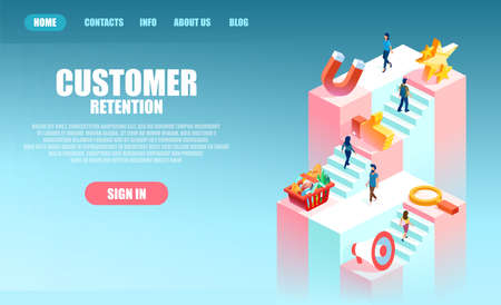 Customer retention concept. Vector of buyers and advertising of a product process, user journey in marketing
