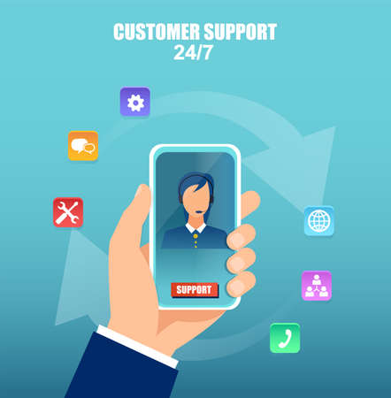 Customer service and technical support concept. Vector of a hand holding smartphone with operator on the screen.