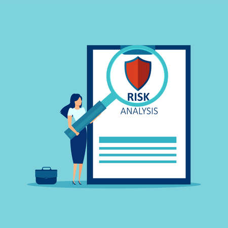 Risk analysis concept. Vector of a businesswoman with magnifying glass analyzing investment business risks Иллюстрация