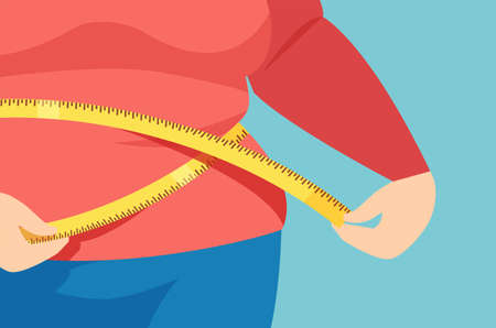 Vector of an overweight female measuring her waistline Иллюстрация