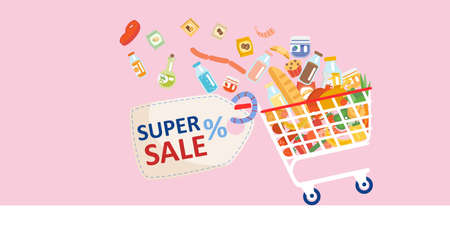 Grocery sale advertisement banner concept. Vector of a shopping cart full of groceries on pink background