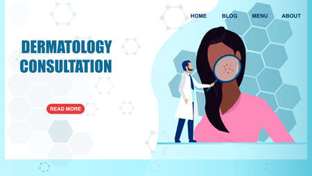 Vector of a dermatologist with magnifying glass examining patient face with skin problem.