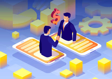 Vector of a two businessmen handshaking having online deal via mobile app technology
