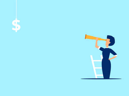 Vector of a businesswoman climbing up a ladder looking at a dollar sign
