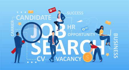 Job search concept. Vector of business people looking for employment positions