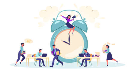 Vector of office employee business people busy working in an office under boss supervision. Time management concept