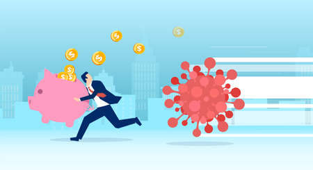 Vector of a businessman with piggy bank running away from coronavirus losing money