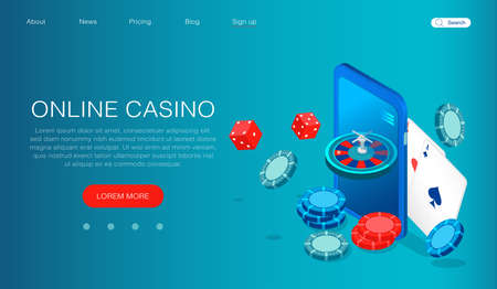 Online casino concept. Vector of a smartphone with casino roulette, chips, dice and cards Иллюстрация