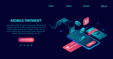 Online payment concept. Vector of a smartphone with credit card and Internet banking app. Иллюстрация